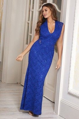 Sistaglam Jessica Wright Becky Cobalt Blue Sequin Maxi Dress