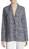 Joan Vass Geometric Jacquard Interlock Jacket, Plus Size