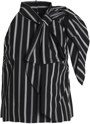 Milly Sasha Bow-embellished Striped Cotton-poplin Blouse