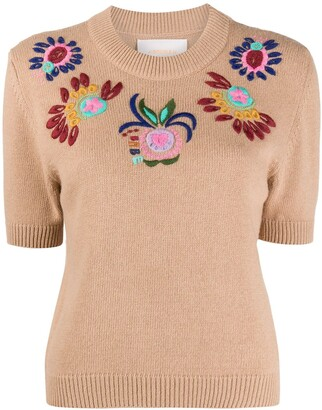 La DoubleJ Embroidered Short-Sleeved Jumper