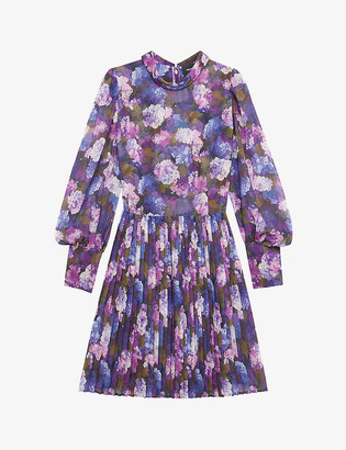 The Kooples Floral-print pleated crepe dress