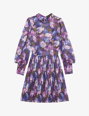 The Kooples Floral-print pleated crepe dress