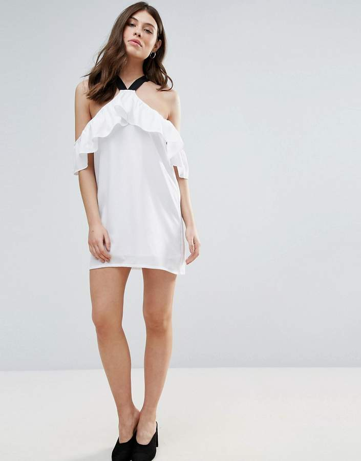 Daisy Street Ruffle Cold Shoulder Dress
