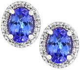 Effy Tanzanite Royale by EFFYandreg; Tanzanite (7/8 ct. t.w.) Diamond (1/8 ct. t.w.) Stud Earrings in 14k White Gold, Created for Macy's