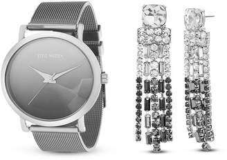Steve Madden Women's Silver-Tone Mesh Bracelet Watch & Chandelier Earrings 2-Piece Set, 37mm