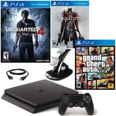 "Sony PlayStation 4 PS4 Slim 500GB Console with ""Uncharted 4,"" ""Bloodborne,"" ""Grand Theft Auto V"" and Dual-Dock Charger"