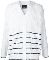 08sircus striped cable knit cardigan - men - Polyester - 4