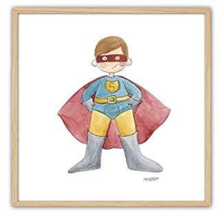 Camilla And Marc cuadriman Table superman Framed in Natural, Wood, blue, red/yellow, 25 x 25 x 3 cm