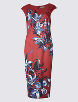 Per Una Floral Print Cap Sleeve Bodycon Midi Dress