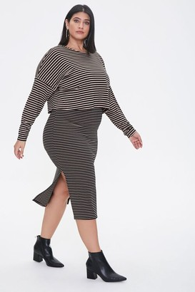 Forever 21 Plus Size Striped Top Skirt Set