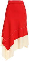 Thumbnail for your product : Victoria Beckham Asymmetric Two-tone Knitted Skirt
