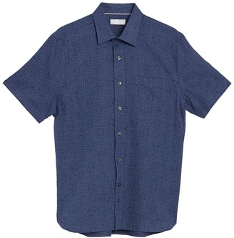 Hickey Freeman Jacquard Bond Short Sleeves Shirt