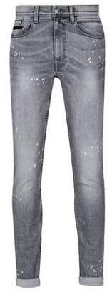 Dorothy Perkins Womens **Burton Grey Splatter Wash Tyler Skinny Fit Jeans, Grey