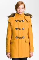 Calvin Klein Faux Fur Trim Duffle Coat