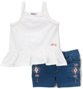 DKNY Bright White Ruffle Tank & Embellished Shorts - Infant