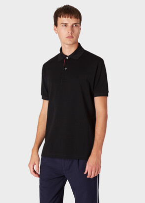 Paul Smith Men's Slim-Fit Black Cotton-Pique Polo Shirt With 'Artist Stripe' Placket