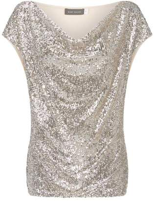 Mint Velvet Silver Sequin Front Cowl Top