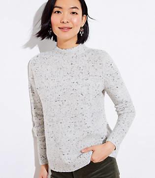 LOFT Shimmer Flecked Mock Neck Sweater