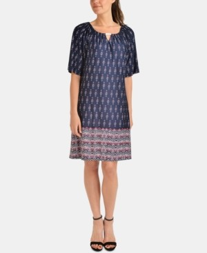 NY Collection Petite Hardware-Trim Border-Print Dress