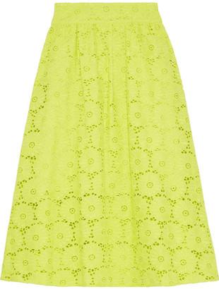 Diane von Furstenberg Tara Neon Broderie Anglaise Cotton Skirt