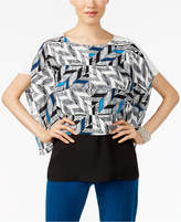 Alfani Petite Printed Colorblocked Top, Only at Macy's