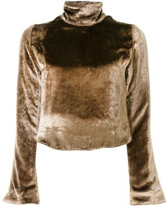 Sulvam Velvet Cropped Sweatshirt