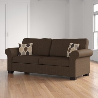 """Three Posts Marcellus Chenille 74"""" Round Arm Sofa Bed Upholstery: Desire Brown, Size: Queen"""