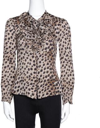 Carolina Herrera Brown Leopard Print Silk Ruffled Blouse S