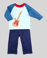 cachcach Garage Band Knit Long-Sleeve Tee & Pant Set, Blue, 2T-4T