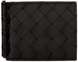 Bottega Veneta Black Intrecciato Money Clip Wallet