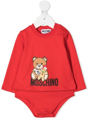 MOSCHINO BAMBINO Logo Teddy Print Bodysuit