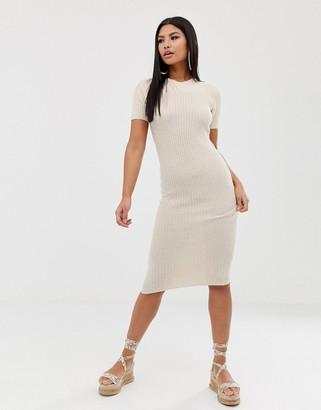 Asos Design DESIGN knitted t-shirt midi dress in natural look yarn-Stone