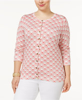 Charter Club Plus Size Printed Cardigan, Created for Macy's