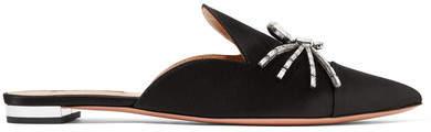 Aquazzura Crystal-embellished Satin Slippers - Black
