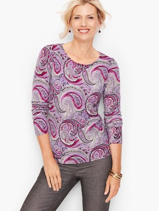 Talbots Gathered Shoulder Merino Sweater - Paisley