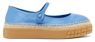 Prada Mary-jane Satin Platform Flats - Womens - Blue