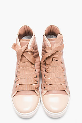 Lanvin Nude Stitched Leather High-Top Sneakers