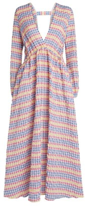 Mira Mikati Textured Gingham Maxi Dress