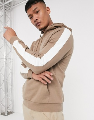 BEIGE ASOS DESIGN hoodie in with side stripe