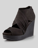 Eileen Fisher Draw Draped Buffed Leather Wedge, Black