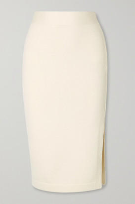 Tom Ford Ribbed Cashmere-blend Pencil Skirt - Ivory