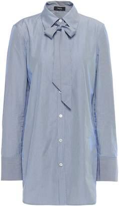 Theory Pussy-bow Striped Cotton-poplin Shirt