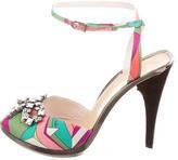 Emilio Pucci Embellished Satin Sandals
