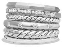 David Yurman Stax Wide Ring With Diamonds, 16Mm
