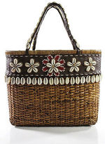 Isabella Fiore Brown Wicker Woven Leather Trim Concch Embellished Medium Handbag
