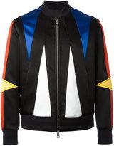 Neil Barrett geometric panelled bomber jacket - men - Silk/Cotton/Polyamide/Viscose - S