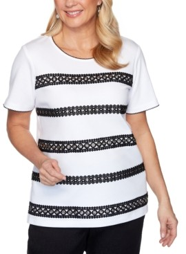 Alfred Dunner Checkmate Grommet Lace Biadere Top