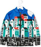 Fendi house motif bomber jacket - kids - Polyester/Viscose - 4 yrs