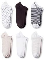 Merona Women's 6-pk Casual Low Cut Dot Stripe Socks One Size