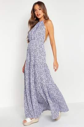 boohoo Tie Dye Backless Floor Sweeping Maxi Dress